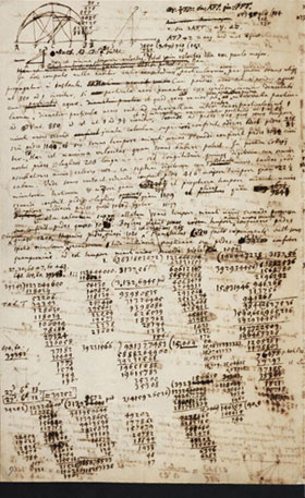 Newtons marked-up manuscript, full of scribbles and equations