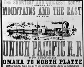 A poster advertising a route on the Union Pacific Railroad