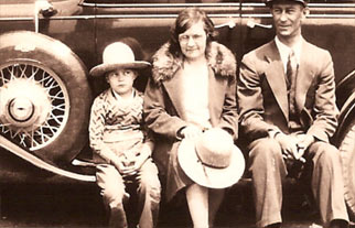 The Molaison family, circa 1930, sitting on a car