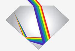 diagram of light refracted in diamond