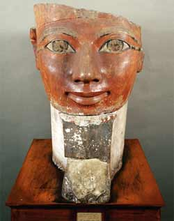 A time-worn bust of the female pharaoh Hatshepsut.