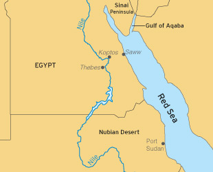 Map of Egypt and the Red Sea