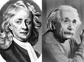 A sketch of Newton and a photograph of Einstein.