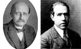 Portraits of Planck and Bohr.