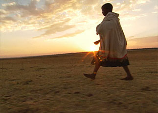 A woman walking in the desert at sunset