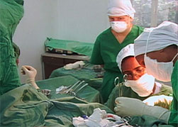 In the operating room during a surgery
