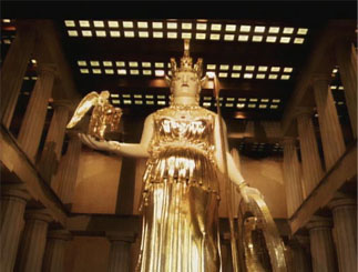 A gold leafed replica of the Athena Parthenos.