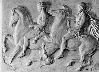 Stone cut of Athenians on horseback.
