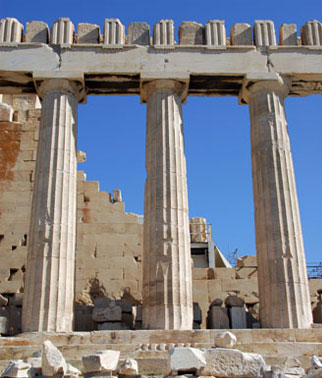 Three columns of the Parthenon.