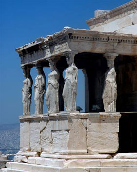 The female figures that act as columns of the Erechtheum's south porch.