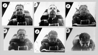Film strip of man experiencing changing G-forces.