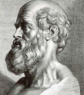 An etching of a bust of Hippocrates, the so-called father of medicine.