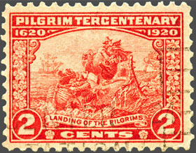 An old stamp commemorating the Pilgrim's voyage.