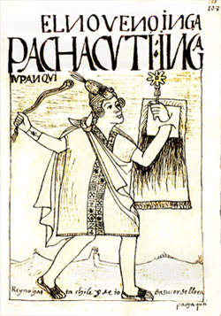 An illustration of Pachacuti, the Inca leader.