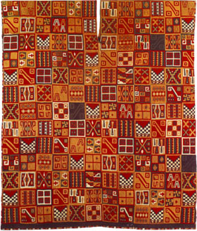 A brightly colored and intricately patterned Inca cloth.