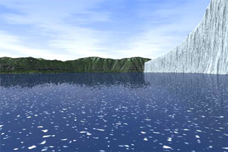 A computer generated image of Glacial Lake Missoula and its ice dam