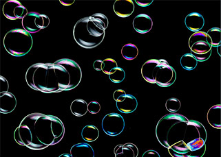 bubbles on black background