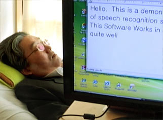 Lee using speech-recognition software