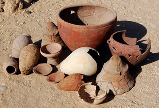 Assorted common Lost City pottery