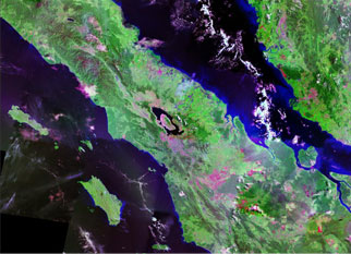 Satellite image of Lake Toba