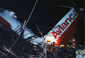 The ruins of a plane crash