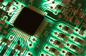Green illuminated computer chip