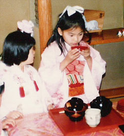 young Yoky Matsuoka at tea ceremony