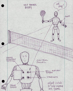 Drawing of tennis robot