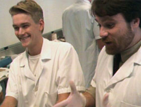 Jay Bonnar and Tom Tarter as medical school students, laughing