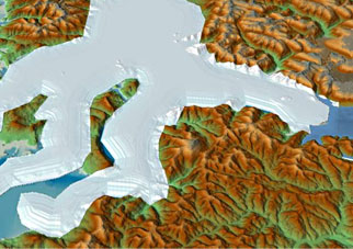 A computer generated image of Glacial Lake Missoula