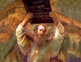 Painting of Moses preparing to smash the Ten Commandments.
