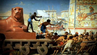 Painting of Israelites as Egyptian slaves.