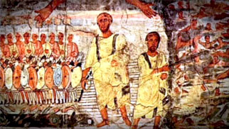 A mural depicting the traditional Exodus story.