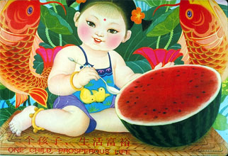 A drawing of a Chinese toddler with half a watermelon.