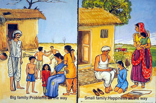 A drawing showing a large, troubled Indian family and a small, happy Indian family.