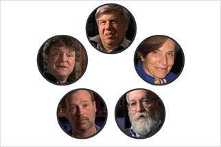 Audio clips from Stephen Jay Gould, Sylvia Earle, Dan Dennett, James Moore, and Ken Miller