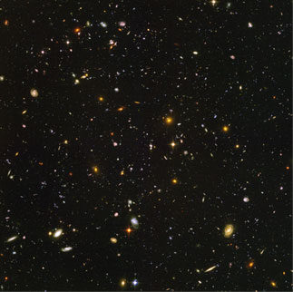 A mosaic of galaxies, as imaged by the Hubble Space Telescope.