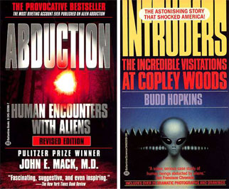 book jackets Mack Abduction and Hopkins Intruders