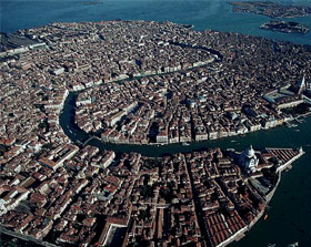 aerial shot of Venice from above