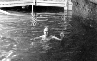 Ray Davis swimming in Homestake mine