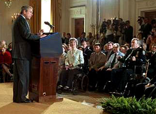 President Bush giving speech