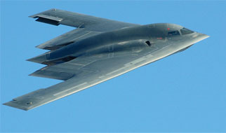 B2 bomber in flight
