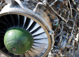 close up of turbine engine
