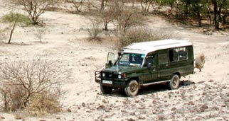 Land Rover in dry landscape