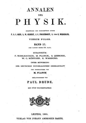 The title page of <i>Annalen der Physik</i>