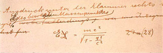 A handwritten, modified version of E=mc2 in one of Einstein's manuscripts