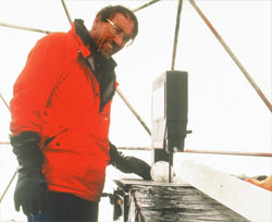Thompson with part of an ice core