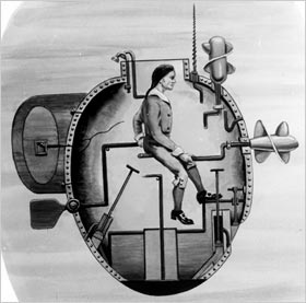 Archival drawing of early midget submarine