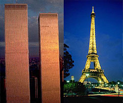 The Twin Towers of the World Trade Center in New York, and the Eiffel Tower in Paris