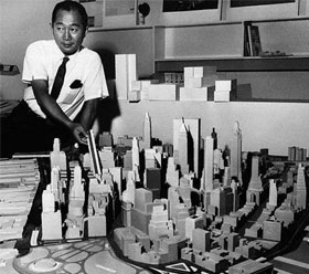 Minoru Yamaskai, the architect of the World Trade Center, and his model for the building complex